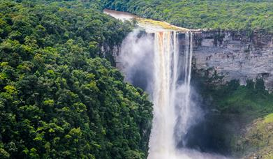Kaieteur Falls located in virgin rainforest is a central attraction for Guyana's ecotourism branding and marketing strategy