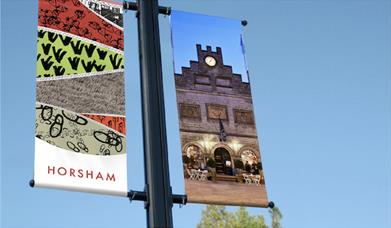 Horsham brand identity banners to promote events in this West Sussex market town