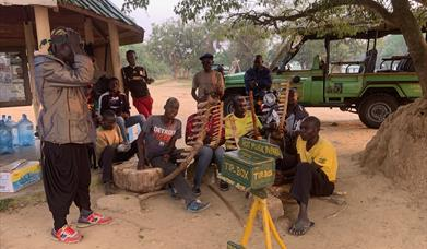 Hot Music in the Park, Mabuka Community group busking in Queen Elizabeth National Park Uganda